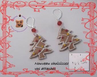Polymer clay Christmas tree cookie earrings