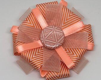 Orange Herringbone - Hair Bow Clip- Loxie's Bowtique