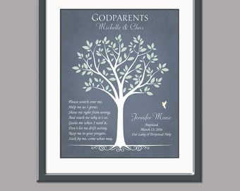 Gift For Godparents - Personalized Gift For Godmother and Godfather - Baptism Gift For Godparents - Godparents Card - Baptism Keepsake