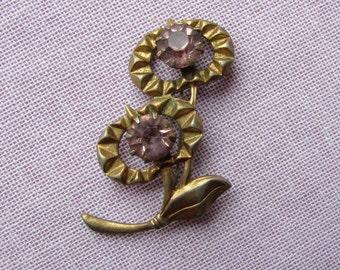 Vintage brooch light pink crystal  Floral Brooch Vintage USSR Brooch vintage Jewelry