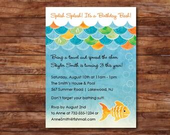 Gold Fish Birthday Party Invitation