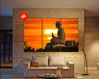 Buddha  print  on canvas wall art Buddha statue over scenic sunset photo art work framed art artwork