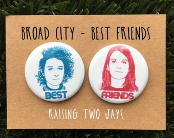 """Broad City Pin Set - Best Friends, Yas Queen, Ilana, Abbi, New York, Jews, Gift For Her, Feminist, 1.25"""" or 2.25"""" (Buttons or Magnets)"""