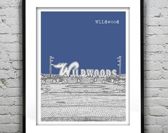 20% OFF Memorial Day Sale - Wildwood New Jersey Shore Skyline Poster Print Art NJ Jersey Shore Version 2