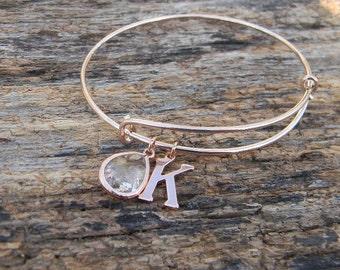 Rose Gold Bangle Bracelet - Rose Gold Initial Bangle  - Monogrammed Bridesmaid Bracelet - Adjustable Bangle Bracelet - Bridesmaid Gift