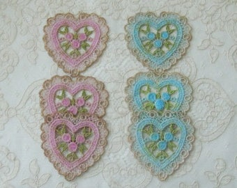 Hand Dyed Venise Lace Heart Applique / Emblishment - Sewing, Crafts, Costumes, Crazy Quilt, Scrapbooking
