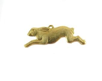 Brass Running Rabbit Charms - (4x) (M867)