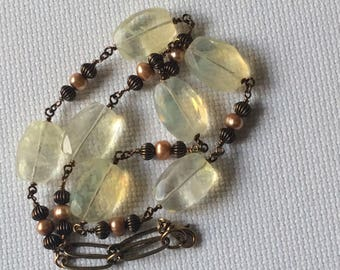 Lemon quartz and pearl necklace
