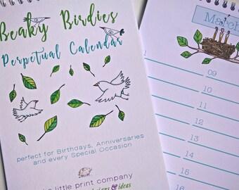 Perpetual Calendar for Birthdays and Anniversaries, Beaky Birdies design
