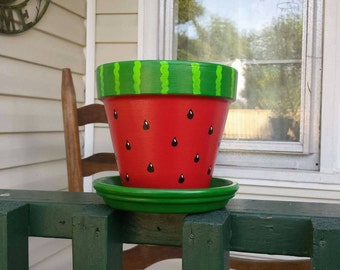 "Hand Painted Watermelon design 6"" Terra Cotta pot with Saucer"