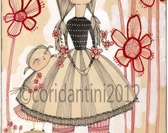 drawing of a mother and daughter - 5 x 10 inch archival and limited edition by cori dantini