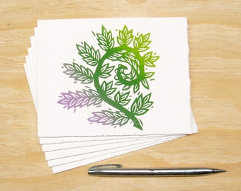 Greeting Cards - Fiddlehead Fern - Set of 6 - Block Printed Cards - Spring Sprouts