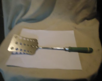 Vintage A & J Spatula With Green Wood Handle, collectable