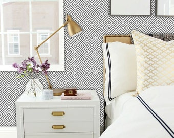Geometric Maze Wallpaper in Black  Removable Vinyl Wallpaper - Peel & Stick - No Glue, No Mess