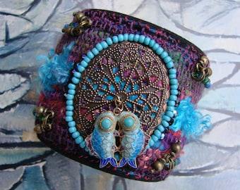 Cuff Bracelet - blue Bracelet - Bohemian Bracelet - designer Bracelet - fish Duo - the siren song