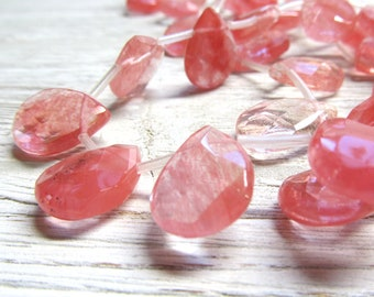 Quartz Beads 18 x 14mm Brilliant Marbled Cherry Quartz Faceted Teardrops - 6 Pcs.