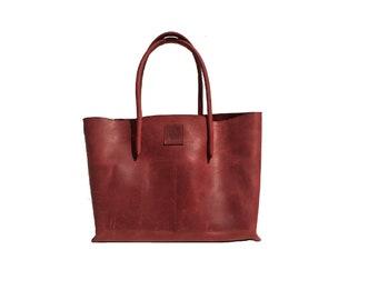 Big leather bag Shopper bag Ledershopper used look red handmade