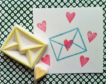 love letter rubber stamps | envelope & love heart | birthday valentine card making | diy snail mail| hand carved by talktothesun | set of 2