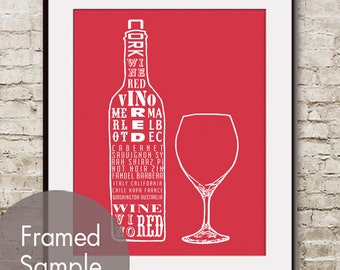 Red Wine and Glass (Top Shelf Alcohol Series) Art Print (Featured in Barberry Red) Buy 3 Get One Free