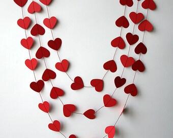 Valentines day decor, Valentine decor, Heart garland, Valentines day heart garland, Paper garland, Wedding decoration, Bridal, KCO-3047