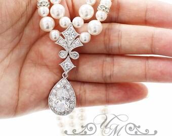 Wedding Necklace Double Strands Swarovski Pearl Necklace Zirconia Necklace Bridal Necklace Bridal Jewelry Bridesmaids Necklace - ABBIE