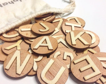 3D wooden alphabet set