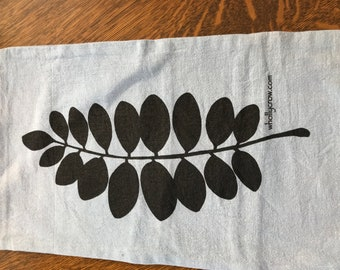 Rectangle Silkscreened Leaf Print Pillow
