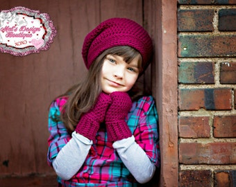 Hat and glove set child slouch beanie fingerless gloves set crochet fingerless gloves crochet hat girls set crochet gloves crochet set