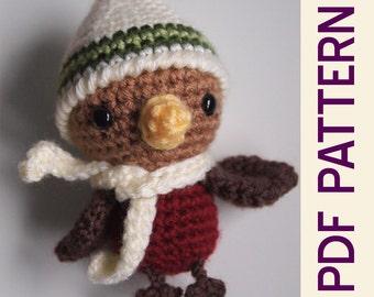 Amigurumi Crochet Woodland Forest Winter Robin Toy Doll Ornament Stocking Stuffer Gift PDF Pattern