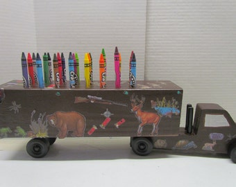 Wooden Truck Hunting Crayon Holder~Wooden Truck~Hunting Season~Gift for Hunter~Birthday Gift~Deer~Duck~Rifle~Wooden Truck Toy~Artist~Play