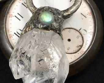 Ancient- rough quartz and labradorite