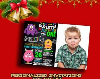 Monster invitation, Monster birthday Invitation, Monster invitation first birthday, Monster invitation