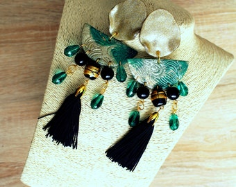 Long earrings in green and gold, polymer clay