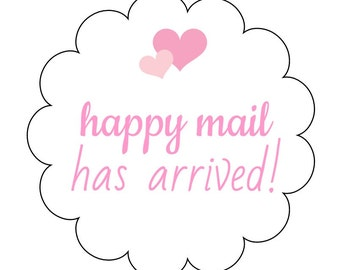 12 Happy Mail Stickers, Packaging Labels, Happy Mail Labels, Snail Mail Labels, Mail Has Arrived, Shop Labels, Heart Stickers