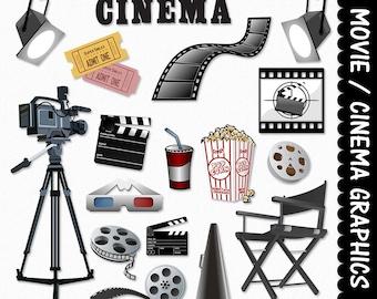 Movie Equipment Clip Art Clipart Graphic Scrapbook Cinema Director Film Popcorn Film Digital Download JPG Transparent PNG Vector Commercial