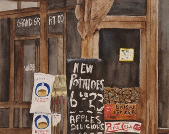 """watercolor painting, art and collectibles,""""NEW POTATOS"""", groceries  Wall decor ,hanging ,  old days Apples , general store,painting,art"""
