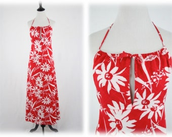 1970s Abstract Daisy Print Halter Maxi Dress Red White Cotton