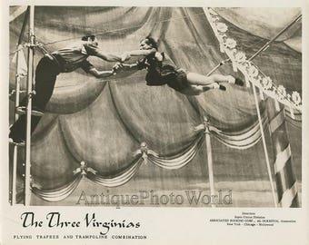 Three Virginias acrobats vintage circus act photo