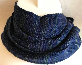 Handwoven Scarf | Navy Variegated Scarf | Cotton Wool Scarf | One Of A Kind | Classy Scarf | Handmade Scarf | Gift For Him | Gift For Her