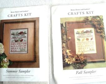 2 Everything Season Cross Stitch Kits Fall Summer BH&G Samplers