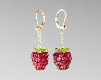Glass Raspberry Earrings Lampwork bead fruit jewelry hand blown glass art birthday gift, Mother's Day gift for gardener, cook, chef