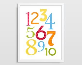 Numbers Print, Educational Poster, Nursery Wall Art, Playroom Decor, Counting Numbers, Kids Room Decor, Modern Nursery Art, Neutral Nursery