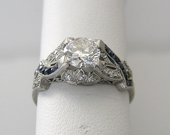 Antique Authentic Art Deco Platinum Diamond Engagement Ring
