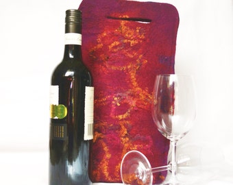 Felt Wine Tote Burgundy Purple and Rust OOAK