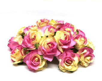 Pink And Cream Classic Mulberry Paper Roses Cr034