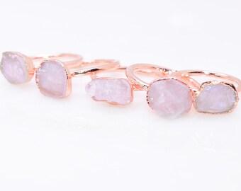 Raw ROSE QUARTZ Ring // crystal ring / raw Quartz ring / Gold Ring/ Silver / Quartz ring / copper ring / Rose Quartz Ring/ Pink Quartz Ring