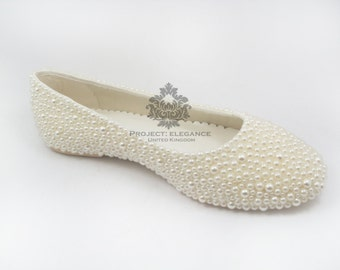 Alice - Ivory or White Pearl Ballerina Flat Shoes Size US  4 5 6 7 8 9 10 11 12 13 14