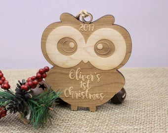Owl Ornament, Baby's First Christmas Ornament, Personalized Baby Ornament, Personalized Owl Ornament, Laser Engraved, Owl Wood Ornament