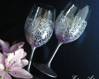 Wedding hand painted glasses, wedding in silver & purple, 25th anniversary gift, gift couples, Mother's day gift, wedding gift, set of 2
