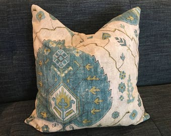 Turquoise, Citrine and Natural Medallion Ikat Pillow Cover /  Designer Richloom Aubusson Aegean / Custom Handmade Home Decor